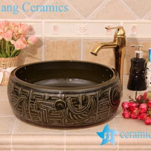 YL-B0_6213 Hand carving round black bathroom vanity top basin