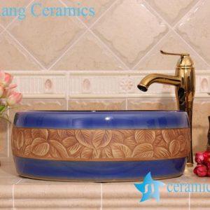 YL-B0_6306 Round dark blue hand carving leaf vanity basin