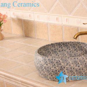 YL-B0_6395 Round blue floral bathroom wash basin cabinet top