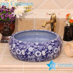 YL-B0_6433 Blue floral cabinet top hand rinse ceramic basin