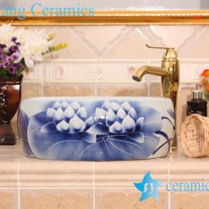 YL-B0_6615 Round blue and white relief lotus bathroom cabinet top hand wash basin