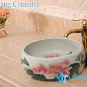 YL-B0_6830 Red flower bathroom table top vessel sink basin