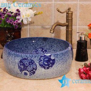 YL-B0_6938 Fancy round blue bathroom porcelain wash basin sink portable type