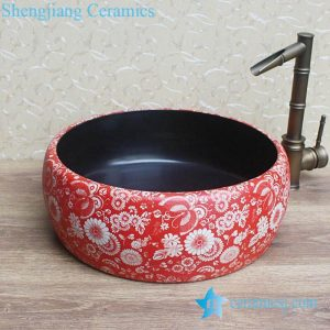 YL-B0_8279 Hot sale round ceramic utility sink black glaze inside and red floral butterfly outside