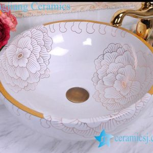 YL-C_0465 golden peony round ceramic counter above wash basin bowl