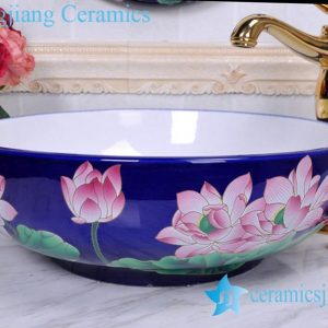 YL-C_0469 Jingdezhen Jiangxi China deep blue lotus flower counter top wash basin bowl