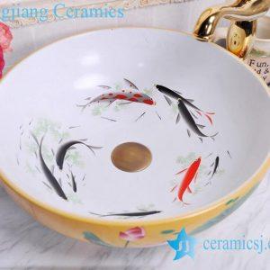 YL-C_0481 Koi fish inside louts flower outside cabinet top vessel sink baisn