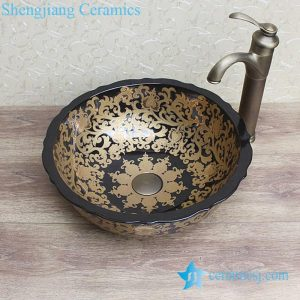 YL-C_0854 luxury round modern style black porcelain counter top sanitary ware