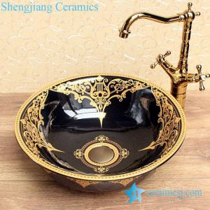 YL-C_0598 Ceramic gold plating table mount sink