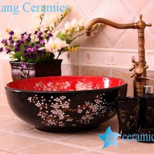YL-C_0451 plum blossom pattern round blue sink bowl