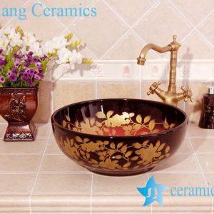 YL-C_4510 Round porcelain gold flower and leaf design cabinet above sink basin