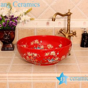 YL-C_4724 Colorful bird and flower art ceramic vanity top wash basin