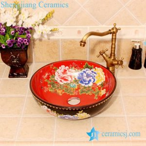 YL-C_4612 Peony flower design China style counter top wash basin bowl