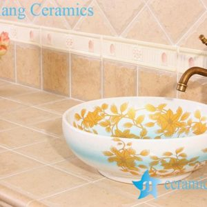 YL-C_5012 Fancy light blue ceramic table above sink bowl