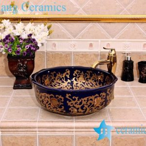 YL-C_5143 Porcelain ceramic counter top hand wash rinse golden plated