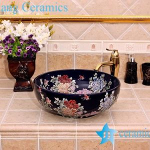 YL-C_5148 Chinese style butterfly and peony round ceramic vanity top sink bowl