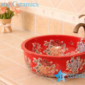 YL-C_6186 Peony and butterfly art design colorful porcelain counter top sink baisn