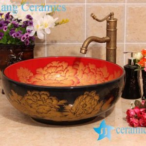 YL-C_5942 Craig blue glazed round porcelain wash basin sink Made in China