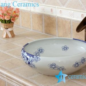 YL-E_5516 Chinese supplier freestanding blue and white wash basin