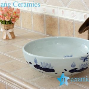 YL-E_5518 Blue and white porcelain counter top sink basin dragonfly and lotus flower design