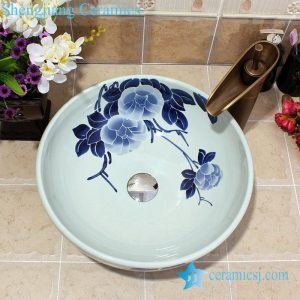 YL-E_5586 Chinese factory outlet blue and white porcelain counter top wash basin sink