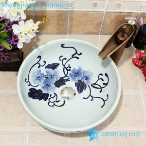YL-E_5587 Chinese blue and white porcelain wash hand rinse sink for bathroom or toilet