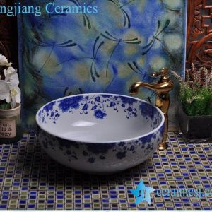YL-E-1 Fairy blue and white porcelain trough sink bowl table mount type