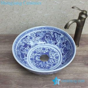 YL-E-3 Gorgeous Chinese traditional style imperial dragon blue and white porcelain shampoo sink basin