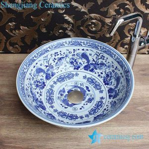 YL-E-4 Chinese traditional style lucky fish pattern blue and white porcelain chinaware table above sanitary ware basin