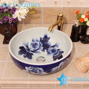 YL-E_6442 Blue and white elegant porcelain vanity top corner sink bowl