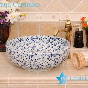 YL-E_6585 Fancy blue and white interlock branch lotus design shampoo sink