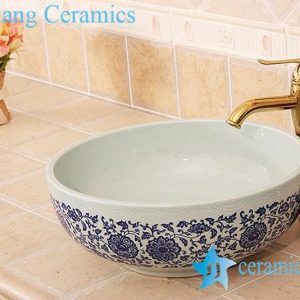 YL-E_6828 Celadon ground interlock branch lotus pattern blue and white round counter top wash basin