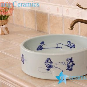 YL-E_7054 Chinese style blue and white cute round porcelain sink basin bowl for bathroom