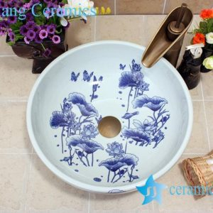 YL-E_7428 Round simple style blue and white porcelain cabinet top sink basin