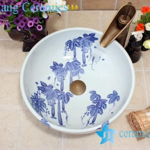 YL-E_7429 Blue and white towel gourd pattern ceramic freestanding hand rinse basin