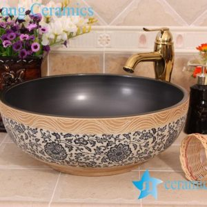 YL-E_7515 solid color inside interlock branch lotus flower outside counter abover round ceramic wash basin bowl