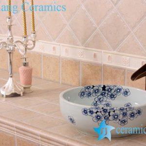 YL-E_7551 Fancy plum flower pattern blue and white porcelain corner sink bowl