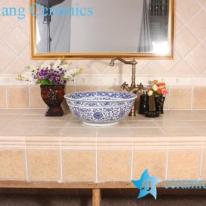 YL-E_8533 Factory direct sale extravagant design China tranditional blue and white line lotus flower paint porcelain counter top wash basin sink
