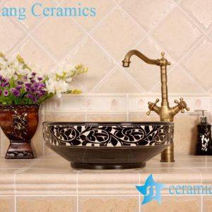 YL-G_4193 Elegant black solid color glaze hand carving round chinaware cabinet above sink basin bowl