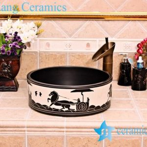 YL-G_5246 Black solid color glaze cabinet top sanitary ware sink