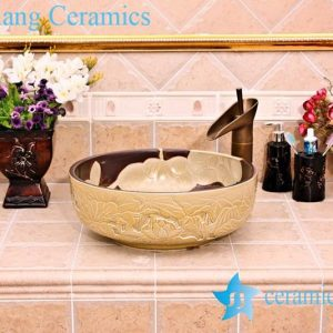 YL-G_5254 Luxury hand engraving ivory lotus flower design cabinet top wash basin sink