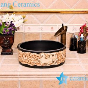 YL-G_5260 Black solid color counter top sanitary ware round sink basin
