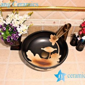 YL-G_5322 Art ceramic counter top wash basin black color lotus engraving design