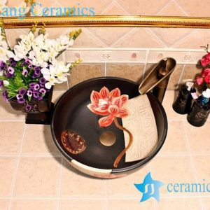 YL-G_5324 Matt finished solid color ceramic sink vanity top black color lotus engraving design