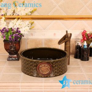 YL-G_5382 Solid color glazed unique engraving round vanity above ceramic sink for bathroom outdoor kitchen hotel