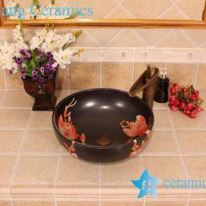 YL-G_5435 Matt finished black solid color ceramic cabinet top sink basin