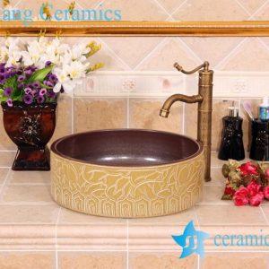 YL-G_5790 Exquisite hand carving ceramic vanity top vessel sink basin