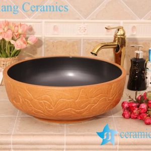 YL-G_6201 Black solid color inside and hand engraving lotus leaf outside round thicken wall ceramic sink basin bowl