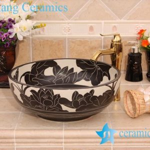 YL-G_6579 Black and white ceramic cabinet mount bathroom corner sink