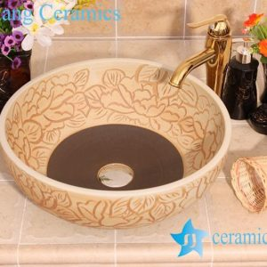 YL-G_6671 Fancy matt finished hand carving lotus flower design ceramic sink basin